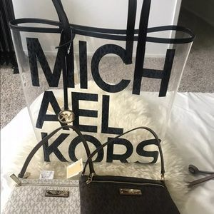 Michael Kors Large graphic logo print PVC tote bag